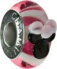 Chamilia Minnie Mouse Pink Murano Glass Bead DISO-3  NEW Authentic RETIRED