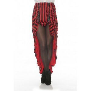 Steampunk Costume Skirt Red N' Black Stripes Pirate Hi-Low Adult Women's XS-XL