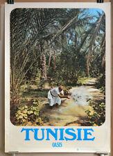 TUNISIE : OASIS, affiche tourisme originale 1973 Vintage travel poster Tunisia