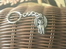 Cat Lovers Pet Animal 1 Cat Angel Pewter Key Chain All New.