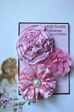 HANDMADE 3 Flower Mix PINK & WHITE Organza Lace Cotton 55,70&80mm NjoyfullCrafts