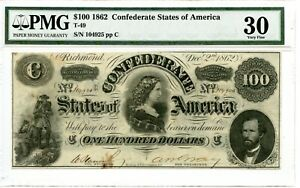 1862  $100   Confederate Currency T-49.    PMG  Very fine 30