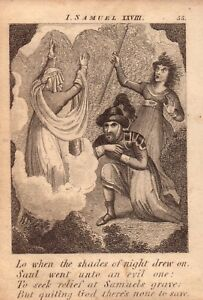 1831 engraving .scripture history - saul went unto an evil one   !