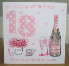 Pink Champagne Personalised 18th Birthday Card Granddaughter Daughter Sister