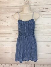 The Hanger Juniors Chambray Polka Dot Sleeveless Dress Sz Small Elastic Back 3d6345547