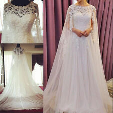 Vintage Wedding Dresses With Cape Cloak Lace Beads Bridal Gowns Custom Made