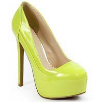 Lemon Green Patent Almond Toe High Stiletto Heel Platform Pump Qupid Ravish-01