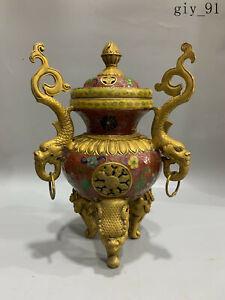 antique China Cloisonne Filigree Enamel Animal foot Tripod Incense burner