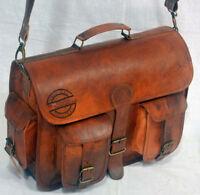 New Men'S Handmade Vintage Leather Messenger Genuine Leather Laptop Satchel Bag