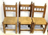 Antique American Handmade Primitive Chairs w/ Woven Rush Seats, Set of 3