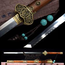 Peony TangDao Battle Sword T10 Steel Clay Tempered Blade Polishing Sharp #1357