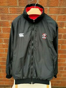 ULSTER RUGBY CANTERBURY MENS SIZE LARGE VINTAGE BLACK & RED REVERSIBLE COAT