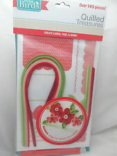 Three Birds Quilled Treasures Card Quilling Kit w/How to Book - Red, Green, Pink