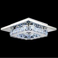 Modern Square Chrome Crystal LED Ceiling Light Lamp Fitting Pendant Chandelier