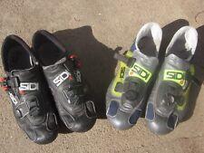 2 pair: Sidi Tecno EU 43 (US 9) road Shoes Full Lorica Black + mesh 3-bolt spin