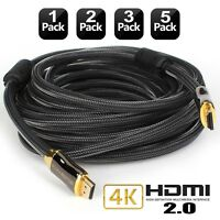 HDMI 2.0 Cable 3FT 6FT 10FT 15FT 25FT 30FT 50FT 24K Gold Plated Connectors - Lot