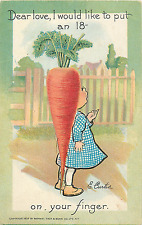 "E. CURTIS A/S FANTASY ""GARDEN PATCH"" ""...PUT AN 18 CARROT ON YOUR FINGER."" 1908"