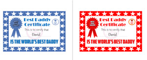 Personalised Best Dad Daddy Certificate Fathers Day Gift from Children Red Stars