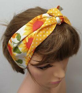 Retro 50's headband women head scarf cotton bandanna rockabilly tie up head wear