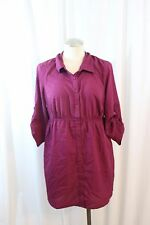 Oh Baby Maternity Pinkish Purple Button Front 3/4 Sleeve Blouse Size M Empire