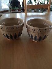 Tender Heart Treasures Beige w/ Blue Leaf Crock Bowls - Set of two