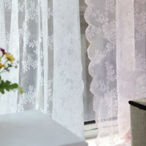 Embroidery Window Panel Drape Sheer Floral Lace Sheer Rod Pocket Curtain Panel