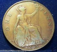 KEY DATE - 1919 KN  Great Britain One Penny - RARE UK  Coin