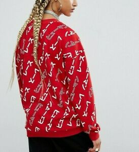 Adidas x Pharrell Williams Sweater Red Japanese Print Track Top Sweatshirt Sz M