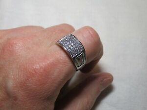 ShopNBC Evine Men's TYCOON Stainless Steel Pave Band Ring Sz 10