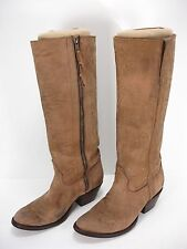 CHARLIE 1 HORSE LUCCHESE NUBUCK LEATHER ZIP WESTERN KNEE HIGH BOOTS WOMEN'S 7 B