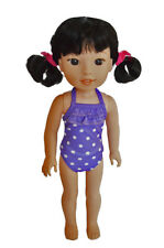"New Purple Swimsuit Fits 14.5"" Slim Doll Such as AG Wellie Wishers & H4H"
