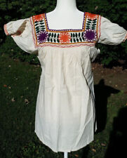 Maya Mexican Blouse Top Shirt Embroidered Flowers Chiapas Off-White Small 310