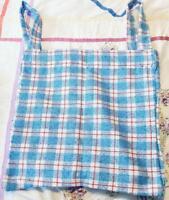 Vintage Handmade Sewn Tote Beach Bag w Hook and Loop Straps Plaid Blue Red White