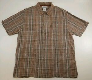 Columbia Brown Western Plaid Short Sleeve Button Down Shirt Men's Size XXL