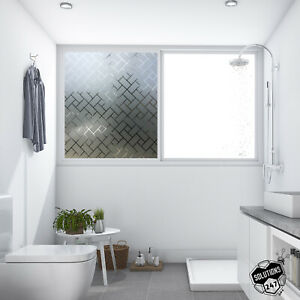 Privacy Glass Diagonal Frosted Film Home Decor Window Tint Static Cling Big Cut
