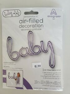 """Foil Balloons. """"Baby"""" Silver. New. Package."""