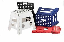 Home Basics NEW Large Folding Step Stool with Non-Slip Dots Red Blue - FS49038