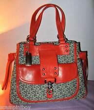 STUNNING DKNY Grey Signature & Orange Leather Handbag BAG