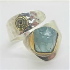 YS India 2-Tone Sterling Silver Chalcedony Green Stone Hammered Band Wrap Ring