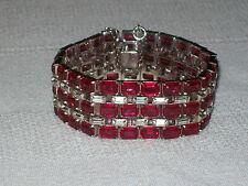 Vintage 1930s KTF Trifari Silvertone Ruby Red Rhinestone Bracelet