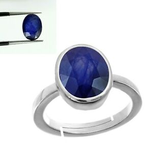 Oval Cut Natural Blue Sapphire Gemstone Women Ring In 925 Solid Sterling Silver
