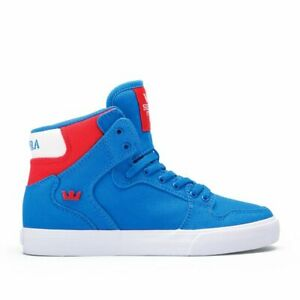 Supra Vaider D Mid Top Skater Mens Trainers Shoes Red White Royal Blue