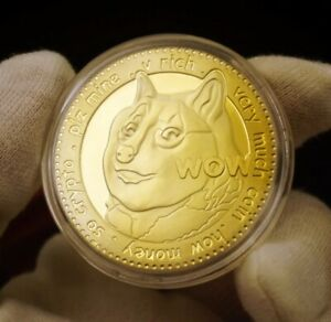 DOGE COIN DOGECOIN TO THE MOON CRYPTO CURRENCY GOLD PLATED COIN (IN CAPSULE)