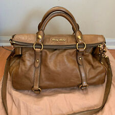 a78952ababf Auth Miu Miu Vitello Lux Bow Bag Brown with Gold Hardware