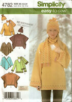 SIMPLICITY PATTERN 4782 LOOSE FIT PULLOVER TOP PONCHO SCARF HAT FLEECE XS S M