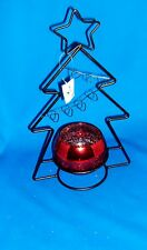 Black Metal christmas tree with mercury glass candle holder holiday decor