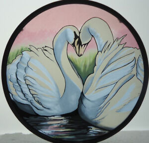 Glassmasters Swans Love Vintage '91 Art Glass Suncatcher