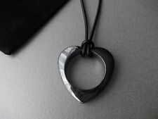 1 X LARGE BLACK HEMATITE OPEN HEART NECKLACE WITH BLACK LEATHER NECKLACE