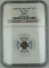 1649-60 England 1/2 Penny Silver Coin S-3223 Interregnum NGC VF-30 AKR
