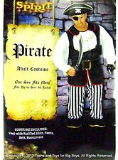 PIRATE HALLOWEEN COSTUME MEN'S One Size Up to 46 Pirates Mens L Vest Shirt New I